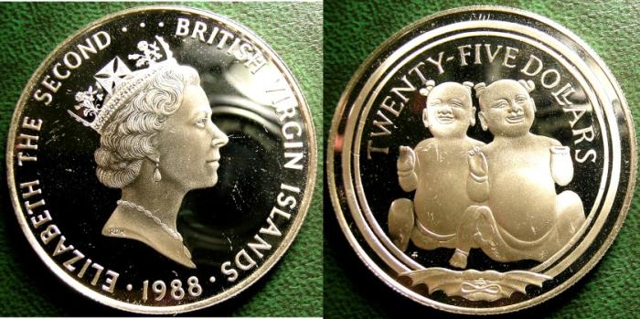 World Coins - BRITISH VIRGIN ISLANDS  25 DOLLARS 1988 BABY FIGURINES,  PROOF, .925 SILVER