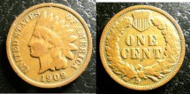 Us Coins - Indian Cent 1909  VG-8