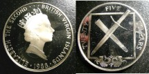 World Coins - BRITISH VIRGIN ISLANDS 1993  TWENTY FIVE DOLLAR PROOF, DAGGER & SCABBARD .925 SILVER