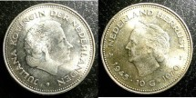 World Coins - Netherlands  10 Guilden 1970 Bu/Unc; .720 Silver