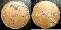 World Coins - Sweden  Skilling 1820 VF