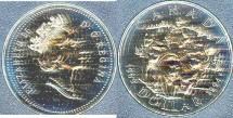 World Coins - Canada  Dollar 1994 RCMP Northern Dog Team Specimen,  BU/Unc. .500 Silver