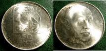 World Coins - CZECHOSLOVAKIA ND 1978 50  KORUN BIRTH OF JANKO JENSENSKY  KM-81 BU/UNC; .700 SILVER