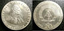 World Coins - East Germany  20 Marks 1966 Leibniz, Unc;