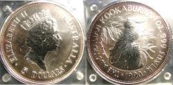 World Coins - AUSTRALIA 1990 KOOKABURRA 1.0Z .999 SILVER IN PLASTIC CASE OF ISSUE, BU