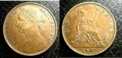 World Coins - England  Penny 1891  EF