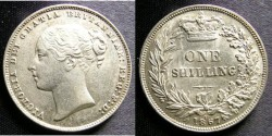 World Coins - England  Shilling 1867  A-6 head, hairlined Unc; Rare
