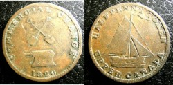 World Coins - Upper Canada  1/2 Penny Token 1820  Fine