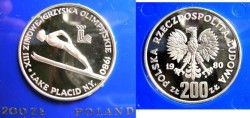 World Coins - Poland 200 Zlotych 1980 Lake Placid Olympics,  Proof