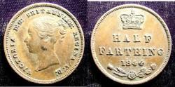 World Coins - England 1/2 Farthing 1844  EF