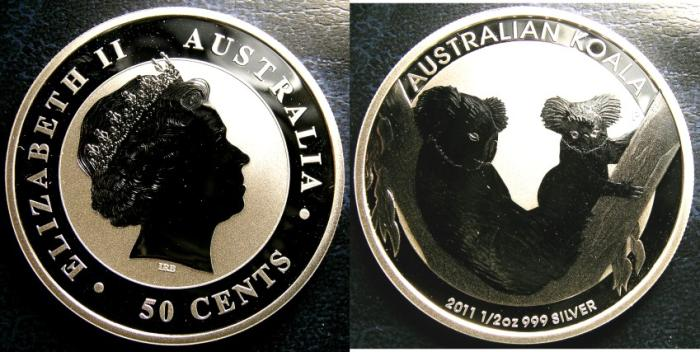 World Coins - AUSTRALIA 50 CENTS 2011 KOWALA 1/2 OUNCE SILVER COIN