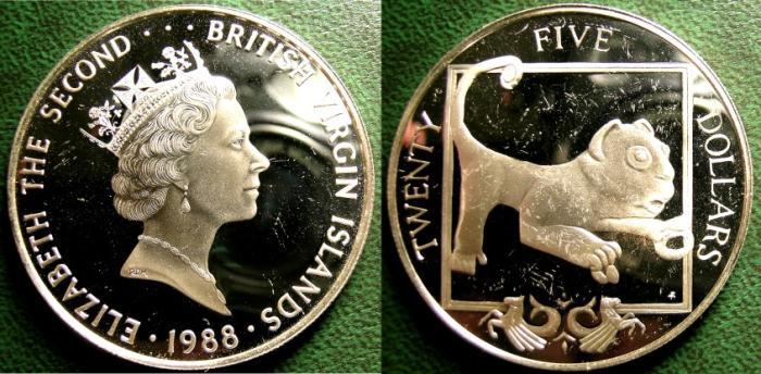 World Coins - BRITISH VIRGIN ISLANDS  25 DOLLARS 1988  LION SCULPTURE,  PRF; SOME HAIRLINES .925 SILVER