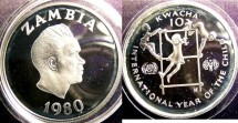 World Coins - Zambia 1980 10 Kwacha 1980 Proof