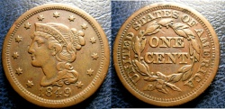 Us Coins - LARGE CENT 1849 EF-40