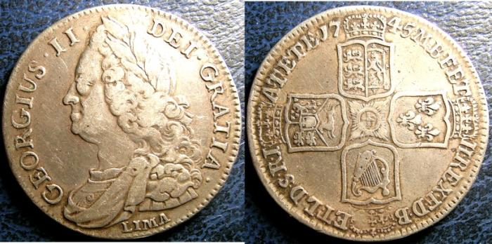 World Coins - ENGLAND 1745 LIMA 1/2 CROWN S#3695 VF