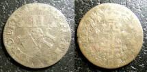 World Coins - German States- Lothringen  12 Deniers (XII) 1728 Leopold I, VG/VF