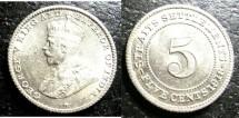 World Coins - Straits Settlements 5 Cents 1918 Bu/Unc;