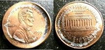 Us Coins - Lincoln Cent 1999 Broad Striking, lightly cupped error