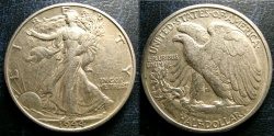 Us Coins - WALKING LIBERTY 1/2 DOLLAR 1944-D  EF
