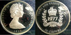 World Coins - Turks & Caicos Islands 25 Crowns 1977 Proof, .925 Silver