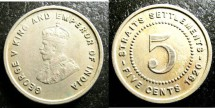 World Coins - Straits Settlements  5 Cents 1920 VF