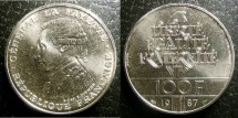 World Coins - France 100 Francs 1987 Piefort, Bu/Unc; .900 Silver