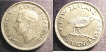 World Coins - New Zealand 6 Pence 1940 VF