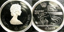 World Coins - Canada $10.00 1975 Paddling Proof, .925 Silver