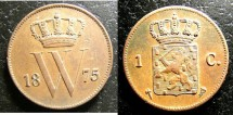 World Coins - Netherlands  Cent 1875  EF
