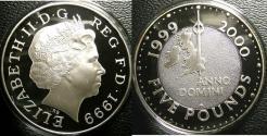 World Coins - ENGLAND 2000 SILVER 5 POUNDS PROOF 28.28 GRAMS W/BOX & COA