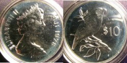 World Coins - Fiji $10.00 1978 Pink-billed Parrot Finch on Branch, rt. Proof, .925 Silver