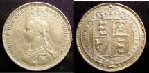 World Coins - England Shilling 1888/7 EF, sm. dig obverse
