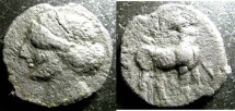 Ancient Coins - Northern Africa AE22 3rd C. BC, Hd. of Tanit/horse VF