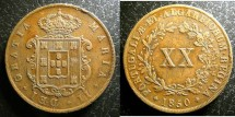 World Coins - Portugal  20 Reis 1850  EF