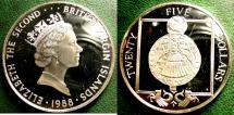 World Coins - BRITISH VIRGIN ISLANDS  25 DOLLARS 1988  RELIGIOUS MEDALLION PROOF, .925 SILVER