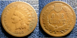 Us Coins - INDIAN CENT 1866 VG-8