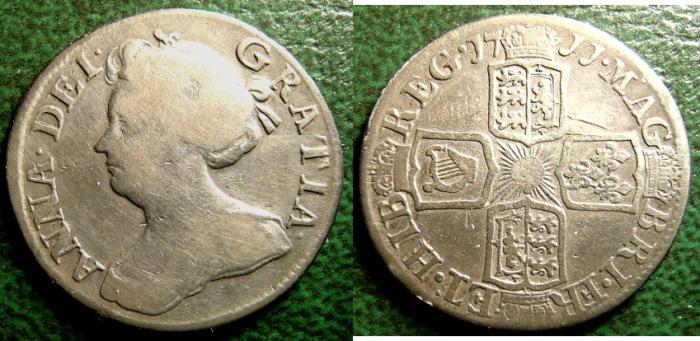 World Coins - ENGLAND 6 PENCE 1711 ANNE  S#3619 FINE