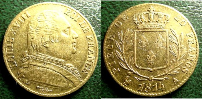 World Coins - FRANCE 20 FRANC 1814-A LOUIS XV111, EF .900 GOLD