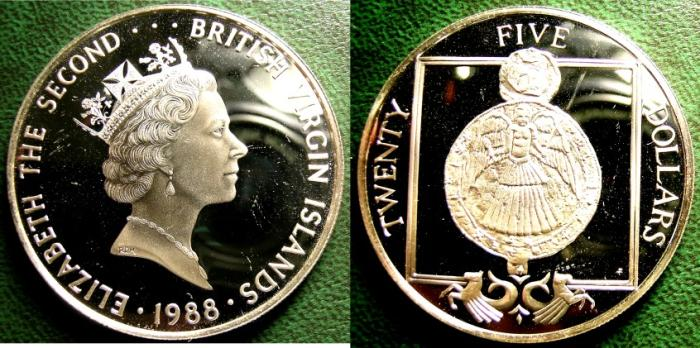 World Coins - BRITISH VIRGIN ISLANDS  25 DOLLARS 1988  RELIGIOUS MEDALLION PROOF, .925 SILVER