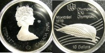 World Coins - Canada $10.00 1976 Olympic Velodrome Proof, .925 Silver