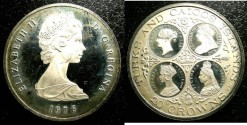 World Coins - Turks & Caicos Islands 20 Crowns 1976 Proof, .925 Silver