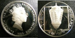 World Coins - BRITISH VIRGIN ISLANDS TWENTY DOLLARS 1985 SHIPS STEM LANTERNS  PROOF,.925 SILVER