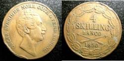 World Coins - Sweden  4 Skilling 1850 f/VF Scarce