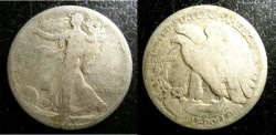 Us Coins - Walking Liberty 1/2 Dollar 1923-S  G-4, .900 Silver