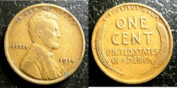 Us Coins - Lincoln Cent 1914  F-12