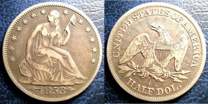 US Coins - SEATED LIBERTY HALF DOLLAR 1853 ARROWS & RAYS  VF