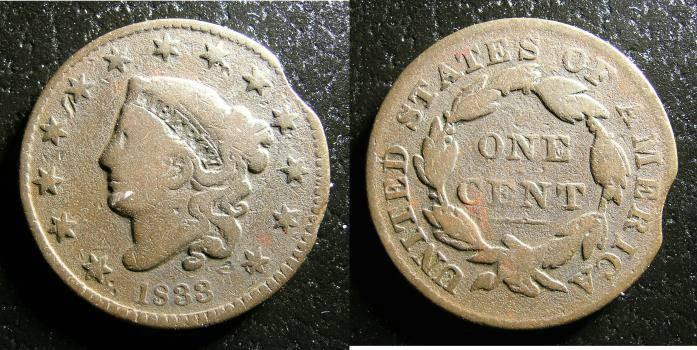 US Coins - Large Cent 1833 N.6 VG/ lt. porosity  Error Clipped Planchet