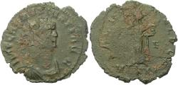 Ancient Coins - Roman-British Carausius Antoninianus Salus Feeding Snake in Her Arms