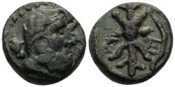 Ancient Coins - Selge Pisidia AE13 Chalkous 2nd-1st Cent BC Head of Herakles/ Thunderbolt