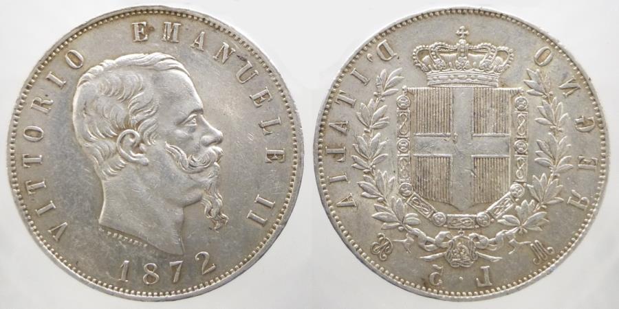 Italy - Vittorio Emanuele II - 5 Lire 1872 - Milan - KM. 8.3 | European  Coins